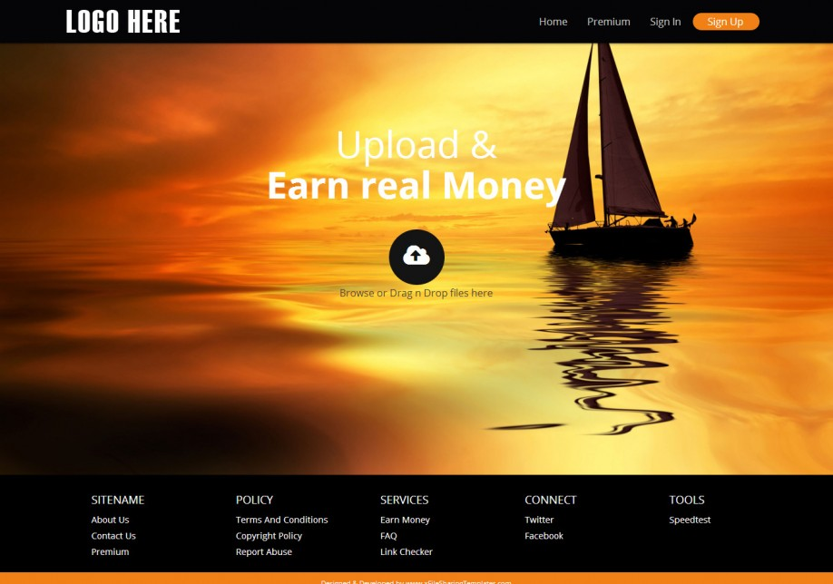 YetiShare Responsive Orange Theme