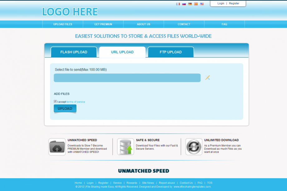 Yabsoft Mega File Hosting Script Sky Blue Template